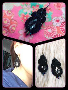 Soutache earrings , Black , TOHO Round Metallic Rainbow Iris