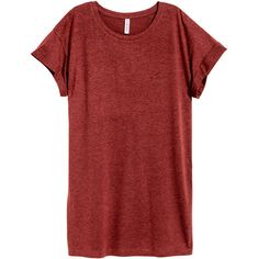 Long T-shirt $9.99 ($9.99) ❤ liked on Polyvore featuring tops, t-shirts, red tee, red top, long tshirts, cotton jersey and red jersey