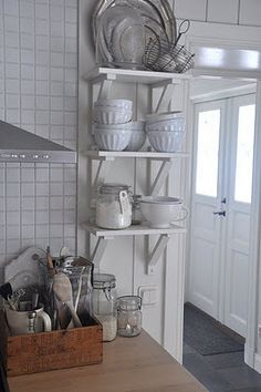 open shelves, wooden box
