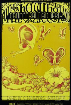 The Who/Cannonball Adderley/The Vagrants, Glenn McKays Head Lights, February 22, 24, 1968 - Fillmore Auditorium (San Francisco, CA) Art by Lee Conklin.