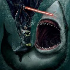 It's Batman fighting a great white shark with a lightsaber. Your argument is invalid. And, just saying, a lightsaber would not work underwater. Ben Affleck Batman, Batman Fight, I Am Batman, Batman Stuff, Batman Phone, Batman Dark, Batman Arkham, Fullhd Wallpapers, Batman Versus