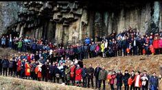 Más de 500 miembros de una sola familia china de apellido Ren se reunieron para formar parte de un gran retrato familiar, 8 de febrero de 2017.