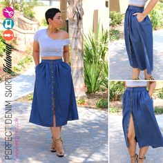 Step by Step VIDEO Tutorial!I have searched high and low for a denim skirt that I could wear all year round and I just could NOT find one. So, in true Mimi G form I decided to just make one and show you how to make one too.