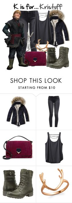 """""""K is for... Kristoff"""" by disneygirl22 ❤ liked on Polyvore featuring Hollister Co., Levi's, Jimmy Choo, Kavu, Rockport, disney, disneybound, frozen and Kristoff"""