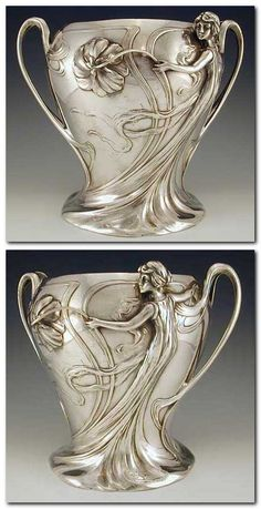 WMF Designer  Description Silver Plate on pewter champagne bucket with figural maiden Art Nouveau decoration Country of Manufacture Germany Date 1906