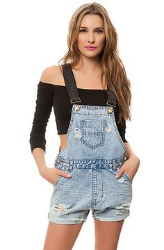 One Teaspoon Overalls The Classic Superfreak in Washed Blue and Black- USE CODE: GIRLSONLY for 50% OFF