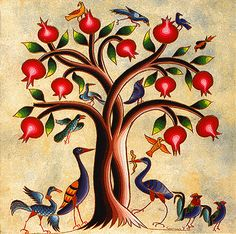 Tree of Life - Pomegranate tree – inspired by Armenian miniature art & produced by Roslin Art Gallery from original illustrations by Seeroon Yeretzian Grenade Fruit, Pomegranate Art, Pomegranate Pictures, Pomegranate Tattoo, Armenian Culture, Armenian Food, Bird People, Carthage, Medieval Art