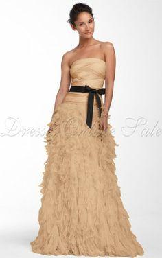 Gold Sheath Floor-length Strapless Dress