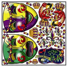 "This is our Mardi Gras ""Graphic Kit."" The decals in this ""Graphic Kit"" are die cut from a template that measures 29 inches wide and 29 inches high. That's 841 square inches.    Kling-Onz are NOT cheap static clings. Kling-Onz are hi-tech, hi-resolution decals that stick safely to any and all smooth surfaces inside and outside in any type of weather; from torrential rains, hurricane winds to freezing temperatures, snow and blistering sun and desert heat."