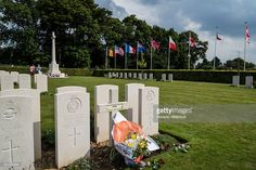 Flowers at the grave of an unknown Free French soldier at the Canadian War Cemetery near Dieppe, France, 19 August 2013, on the 73rd anniversary of the Dieppe raid. More than 6000 allied troops, mostly Canadians, landed on 19 August 1942. At the end of the day, after a fierce battle, the Allies had 1550 dead and some 2400 prisoners. 948 Commonwealth servicemen of WWII are buried or commemorated in this cemetery.