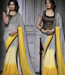 Buy Grey plain georgette saree with blouse shimmer-saree online