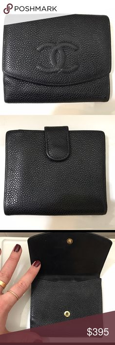 Chanel Caviar Timeless Compact Wallet Good condition. No marks on exterior, moderate use on interior leather. A classic black Chanel wallet that will match all bags, outfits, and never go out of style. CHANEL Bags Wallets