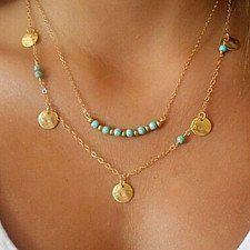 Buy Turquoise and Coin Layered Bar Necklace Wardrobe by Shop LuLu on OpenSky