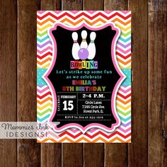 Bowling Invitation, Bowling Party Invite, Rainbow Bowling Invitation, Chevron Invitation, Bowling Birthday Party Invitation, DIY, Printable by MommiesInk on Etsy https://www.etsy.com/listing/207535274/bowling-invitation-bowling-party-invite