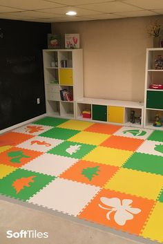 Brighten your basement playrooms with SoftTiles Foam Play Mats. This colorful playroom floor can be used directly on concrete to create a soft floor your kids will love.
