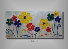 Acrylmalerei - Acrylbild Happy Flowers #026 - ein Designerstück von SoMa-Art bei DaWanda