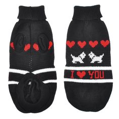 Uxcell XX-Small Heart Print Knitting Turtleneck Pet Cat Puppy Sweater, Size 6, Black/Red * Startling review available here  : Dog Apparel and Accessories