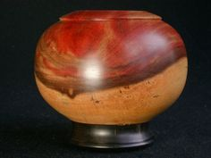 "Pink Flame & Ebony Hand Turned Wooden Bowl ... via this Etsy store, ""vplcud""."