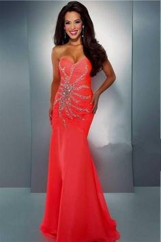 Neon Coral Prom Dresses 2018