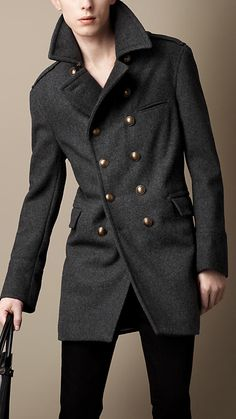 Melton Wool Blend Military Coat | Burberry