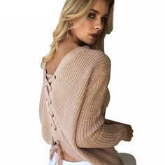 Lace Up Loose Knitted V Neck Jumper    https://zenyogahub.com/collections/casual-tops/products/lace-up-loose-knitted-v-neck-jumper