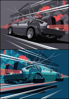 Zurück in die Zukunft - Chris Rathbone @ - 1009 2 Back Dmc Delorean, Delorean Time Machine, Dmc 12, Car Posters, Movie Posters, Sketch Manga, Bttf, Car Drawings, Geek Humor