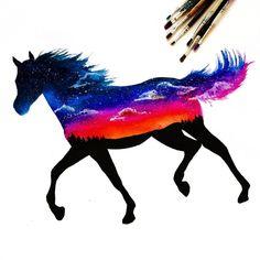 Horses lend us the wings we lack. App Drawings, Horse Drawings, Animal Drawings, Art Sketches, Galaxy Painting, Galaxy Art, Watercolor Horse, Watercolor Paintings, Horse Silhouette
