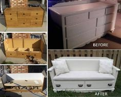 Make A Beautiful Bench From That Broken Dresser