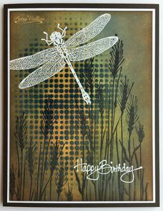 "By Patsy Collins. Heat embossed stencil design. Idea from Tim Holtz. Stamps: ""Tall Wheat"" (Hero Arts); dragonfly from Stampin' Up ""Wonderful Wings."" Stencil: ""DotFade"" (Tim Holtz/Stampers Anonymous."