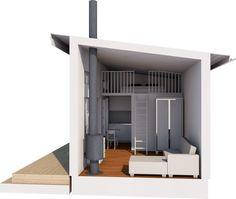 Modellerna med loft är maximerade gällande in och utvändiga mått, noterbart är den takhöjd som erbjuds både under och på loftet. Timmer eller blocklösning. Container Shop, Tiny Spaces, Tiny Living, Architecture Design, Pergola, Shelves, House Design, Studio, Loft