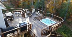 Outdoor dining area, Sunken hot tub, Outdoor seating area | Home | Pinterest | Patio, Decks and Hot tubs