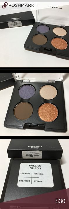 NIB Mac Fall '06 Quad 1 Sample 100% Authentic NIB Mac Cosmetics  Fall 2006 Quad 1  Includes: Contrast, Shroom, Espresso & Bronze  Marked Sample - purchased from a past employee.  Brand new, never used or tested.  100% Authentic  Please see pictures as this is the actual item you will receive. Please feel free to ask any questions and I will get back to you as soon as possible. Thank you! MAC Cosmetics Makeup Eyeshadow