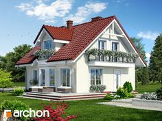 Dom w rododendronach 3 Carriage House Plans, Bungalow House Design, Design Case, Double Doors, Home Fashion, My Dream Home, Architecture Design, Shed, Outdoor Structures