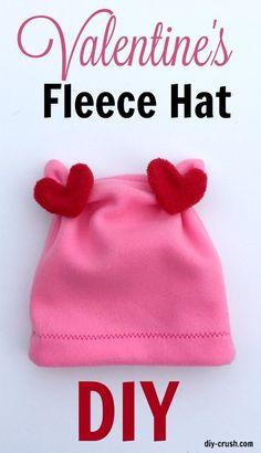 Tutorial: Valentine's Day fleece hat
