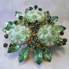 Intriguing Carved Glass & Rhinestones Dazzling Pin / Brooch
