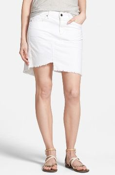 Joe's 'Play Dirty, Stay Spotless' Repaired Pencil Skirt www.teelieturner.com Pieced together from soft, stain-repellent Japanese denim in a clean white wash, this denim pencil skirt is fashioned with a frayed, asymmetrical hem and seaming details for a DIY look. #fashion