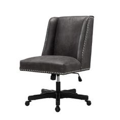 High Back Office Chair Gray Leather Armless Executive Black Base Wheel Furniture High Back Office Chair, Black Office Chair, Grey Office, High Back Chairs, Home Office Chairs, Grey Chair, Cow Print Fabric, Black Wood