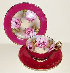 VINTAGE AYNSLEY BONE CHINA TRIO PINK FLORAL ROSE 1301 TEA CUP SAUCER SIDE PLATE