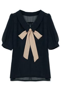 Shop Feminine Bowknot Navy Blue Blouse at ROMWE, discover more fashion styles online. Navy Blue Blouse, Navy Blue Shirts, Black Blouse, Mode Style, Style Me, Pretty Outfits, Cute Outfits, Work Outfits, Summer Outfits