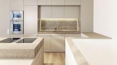 Küche  - taupe - Stein