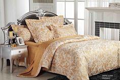 Купить сатин-жаккард премиум Прованс (медовый) - хлопок, ткани для постельного, для постельного, для постельного белья