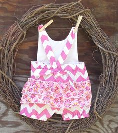 Girls Chevron Romper Pink and white Ruffled by SouthernSister2, $25.00