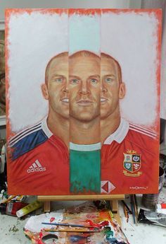 Final 'Paul O'Connell In III' painting - drying on my easel. 20 x 16 inches oil & acrylic paint on canvas board.