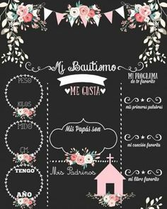 Bautizo Baptism Party, Festa Party, Birthday Chalkboard, Baby Album, Ideas Para Fiestas, Baby Scrapbook, Holidays And Events, Christening, First Birthdays