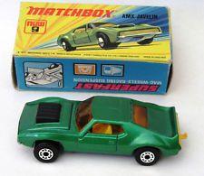 SCARCE Dark Green Matchbox #9 Superfast AMX Javelin muscle car 1972 Original Box