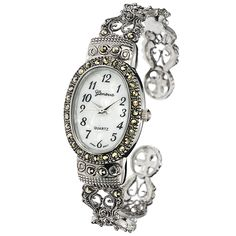 Geneva Platinum Marcasite Oval Face Women's Watch (Geneva Platinum Marcasite Oval Face Watch), Silver-Tone, Size One Size Fits All (Metal) Big Watches, Fossil Watches, Luxury Watches, Geneva Watches, Silver Watches, Diamond Watches, Leather Watches, Casual Watches, Marcasite Jewelry