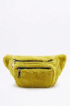 Yellow Faux-Fur Cross Body Bum Bag