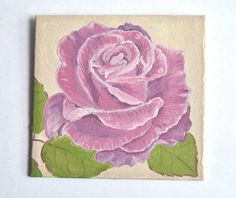 Rose Original Oil Painting Shabby Chic Home Decor by LadyBugCo, $7.75