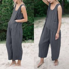 a0aa9912b69a Casual Solid Color Sleeveless Jumpsuits Leotard Tops