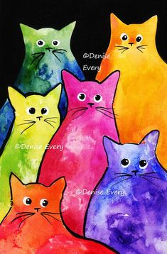 Tie-Dyed Kitties Colorful Cat Art Print Cat Art Print Abstract Cat Art Colorful Tie-Dyed by DeniseEvery Art Trading Cards, Cat Art Print, Cat Colors, Cat Drawing, Whimsical Art, Wall Art Prints, Pop Art, Art Projects, Abstract Art